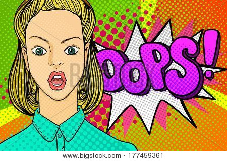 Confused or surprised woman face in pop art comics style with OOPS word bubble. OOPS sign.