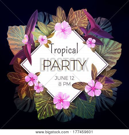 Summer tropical background with exotic palm leaves and pink flowers. Jungle floral party flyer template, vector illustration.