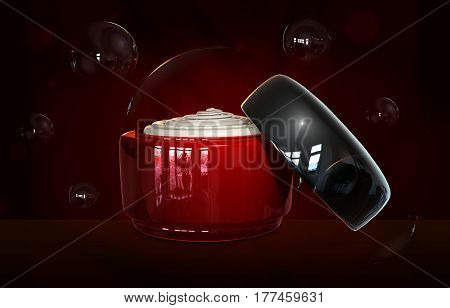 3d illustraton of opened cream container bottle mock up. Realistic cosmetic cream glass bottle. Beauty cream in a jar