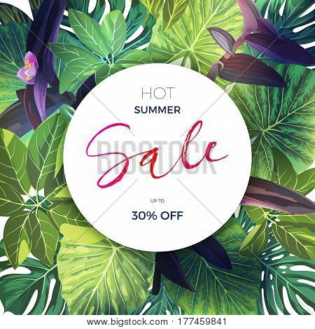 Bright green summer tropical background with exotic palm leaves and pink flowers. Modern floral sale template., vector illustration.
