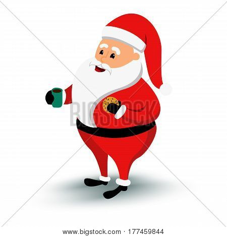 Christmas smiling Santa Claus character. Cartoon bearded man in festive costume with coffee cup. Vector xmas illustration eps10