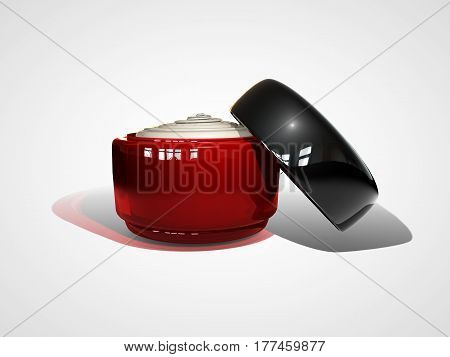 3d illustraton of cream container bottle mock up. Cosmetic cream glass bottle. Beauty cream in a opened jar isolated on white