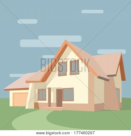 Vector illustration of a house on nature, a house of white color