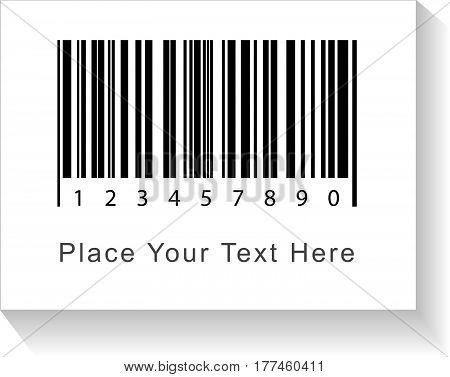 Bar Code Label With Shadow And Caption Place Your Text Here. Vector Illustration.