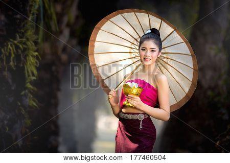 Asian girl Beautiful girl in Laos costume.