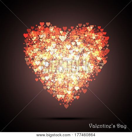 Valentine's bokeh hearts. Many of transparent hearts in the shape of big heart. Design card scrapbook. Vector illustration EPS10