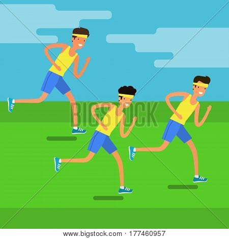 Concept of Sport and activity people. Group of young men running. Jogging cartoon character. Sprint marathon. Flat design, vector illustration.