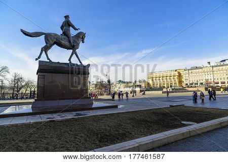 Moscow, Russia - March 12, 2017: Monument to Marshal Zhukov