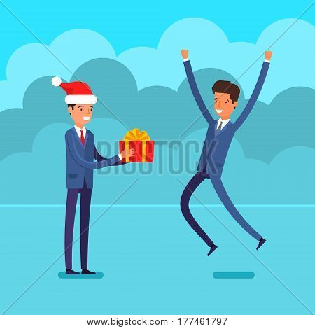 New year business concept. Businessman in a Santa Claus hat gives a gift to the man jumping for joy. Flat design, vector illustration.