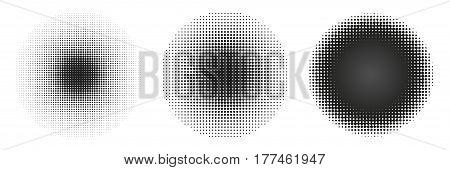 Set of circle halftone. Halftone round dots stamp. Vector illustration.