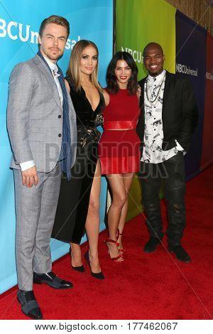 LOS ANGELES - MAR 20:  Derek Hough, Jennifer Lopez, Jenna Dewan Tatum, Ne-Yo at the NBCUniversal Summer Press Day at Beverly Hilton Hotel on March 20, 2017 in Beverly Hills, CA