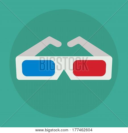3D glasses icon. Cinema eyeglasses in flat style. Vector stock.
