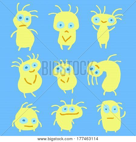 Funny Yellow Flat Things Isolated Vector Illustration. Cartoon Aliens Look Like Mutant Bugs Germs. Cheerful Collection Creatures for Web Icons and Shirts. Pictures for Kids.