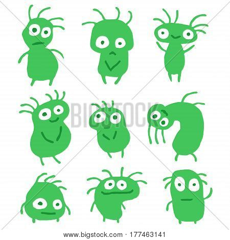 Funny Green Flat Things Isolated Vector Illustration. Cartoon Aliens Look Like Mutant Bugs Germs. Cheerful Collection Creatures for Web Icons and Shirts. Pictures for Kids.