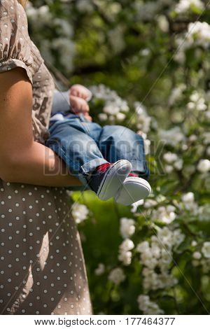 Closeup of little baby in sneakers on the hands of his young mother. Mum with child in the blooming apple garden. Family walking in the park outdoors. Newborn baby.