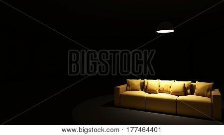 Sofa focus light in the darkroom - 3D render