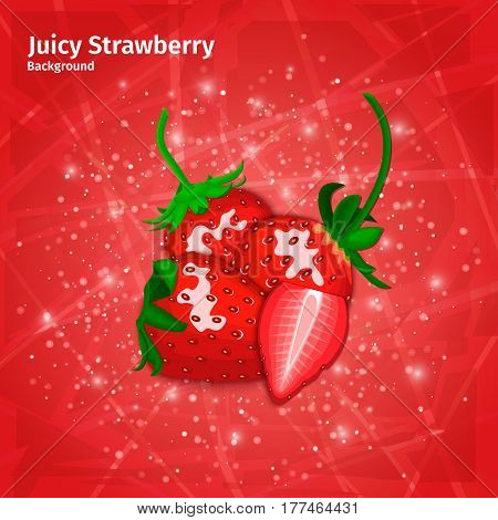 Vector strawberry on juicy red background. Composition of ripe berries