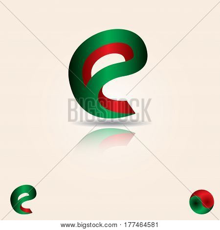 3D Letter E logo design template elements