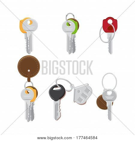 Set of modern door keys on keyring with trinkets flat design vectors isolated on white background. House colorful keys illustrations collection for real estate and security access concepts