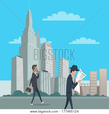 Businessman in suit with briefcase speaks by phone and other man in hat reads newspaper. Downtown in New York city center. Multi storey buildings and skyscrapers on background vector illustration.