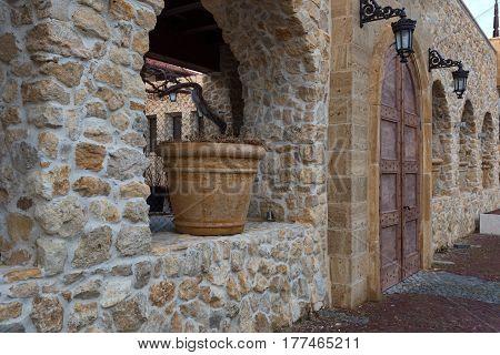 Big pot along the narrow streets of the town of Nesebar, Bulgaria.