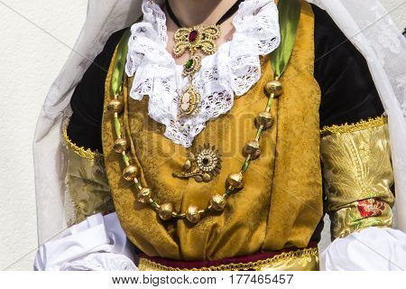 CAGLIARI, ITALY - May 1, 2013: 357 Religious Procession of Sant'Efisio - detail of a female traditional Sardinian costumes - Sardinia