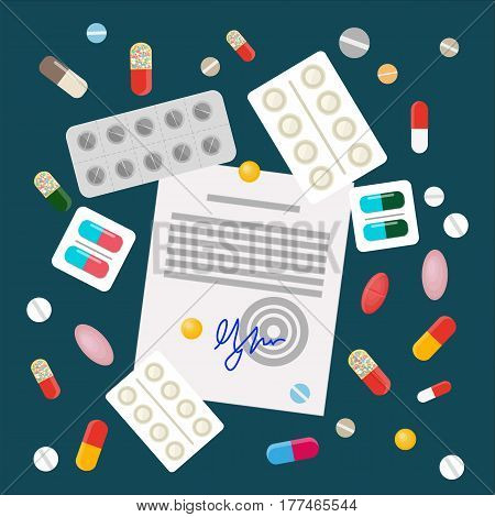 Scattered pills with drug prescription flat vector. Variety types of drugs, color dragees, gelatin capsules and pills in blister packs with doctors permit illustration. Pharmaceuticals goods concept