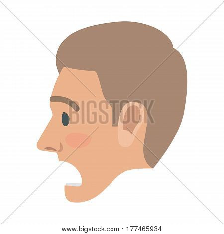Surprised brown-haired man face icon. Male head in profile view with open mouth and raised eyebrows flat vector isolated on white background. Human emotions illustration for people infographics