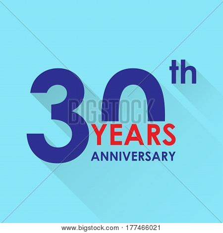 30 years anniversary icon. Invitation and congratulation design template. Flat vector illustration of 30th anniversary emblem.