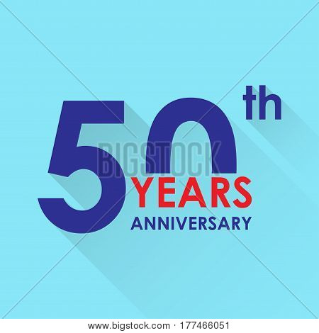 50 years anniversary icon. Invitation and congratulation design template. Flat vector illustration of 50th anniversary emblem.