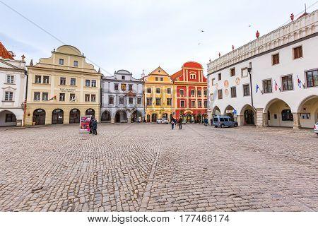 Cesky Krumlov, Czech Republic - February 26, 2017: Famous landmark, historic center street view and houses on the main square