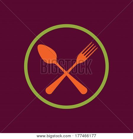 Spoon and fork icon. Colorful emblem of crossed spoon with fork. Vector illustration in flat style.