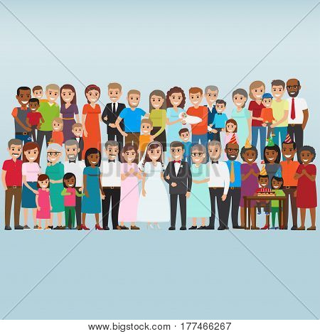 Set of people celebrating family holidays. Newlyweds with parents-in-law, kids birthday party friends, happy parents with newborn flat vectors. Big collection of relatives and friends illustration