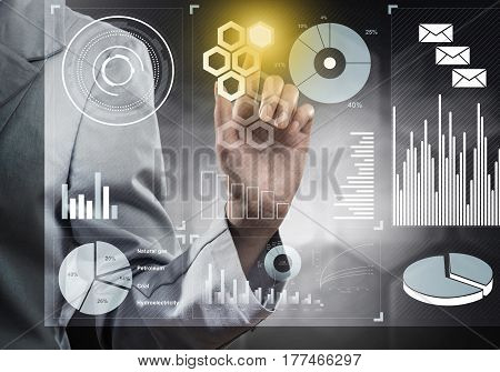 Close view of businesswoman working with virtual panel interface
