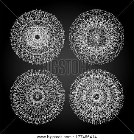 Set of white guilloche decorative elements black and white