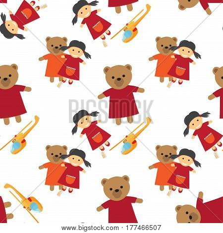 Doll, bear in dress and helicopter seamless pattern. Funny kids toys for your happy childhood. Isolated vector illustration of wallpaper design with girlish and boyish toys, wrapping paper
