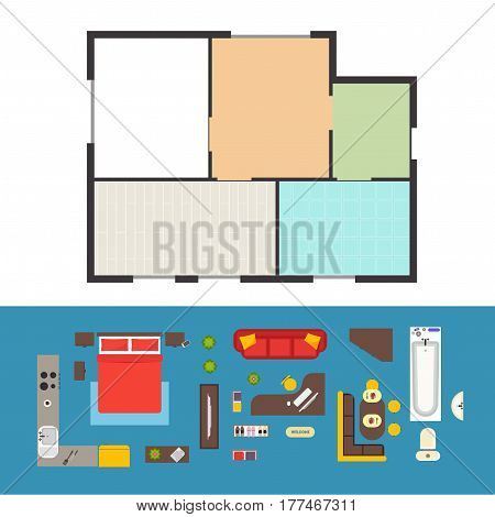 Apartment Plan and Furniture for Interior Design Set Top View. Vector illustration
