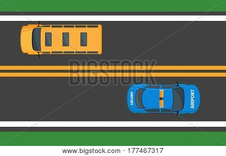 Yellow school bus and airport car moving on asphalt road. Public transport traffic on expressway with double line. Vector illustration of driving school and airport automobiles in contrary directions