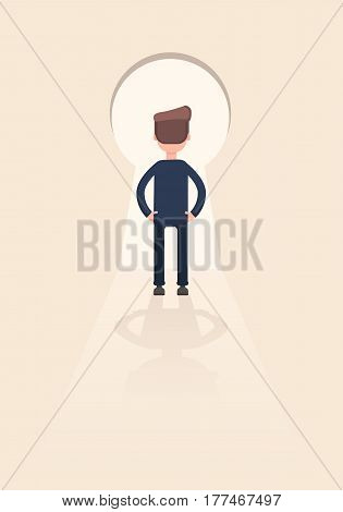 Businessman standing in front of a keyhole which has a bright light. Vector illustration in a flat style.