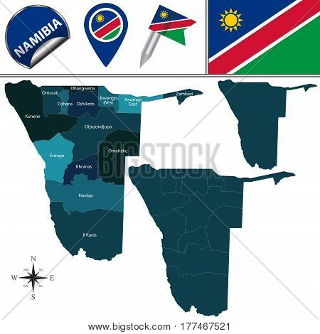 Map Of Namibia With Named Regions