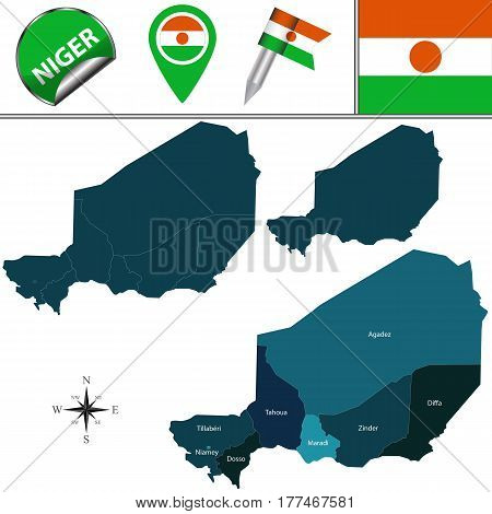 Map Of Niger With Named Regions