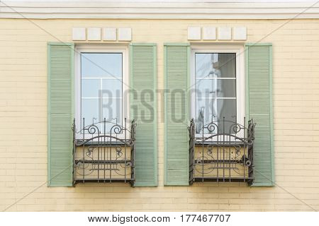 Vintage windows and jalousie with brick wall background