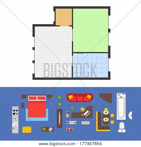Apartment Plan and Furniture For Living Room Set Top View. Vector illustration