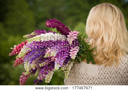 Back view on young girl holding a bunch of beautiful lupine flowers. Purple and pink lupin bouquet. Womanl with bouquet of wild lupin flowers on sunny summer field.