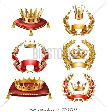 Set of vector icons of royal golden crowns and laurel wreaths isolated on white. Collection of crown awards for winners of competitions, design elements for a label, certificate, diploma