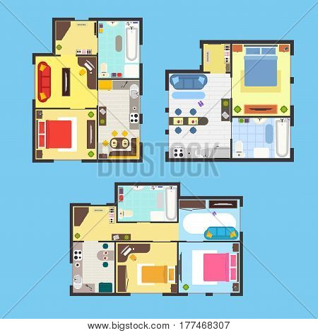 Architectural Apartment Plan with Furniture Set Top View on a Blue Background. Vector illustration