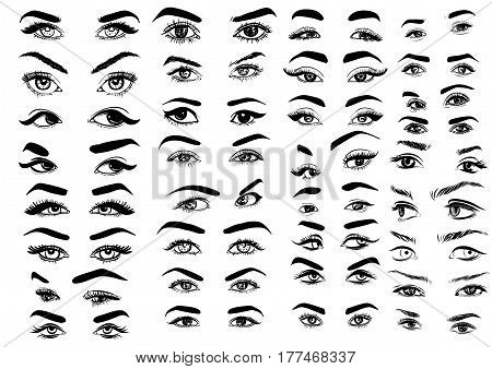 Female woman eyes and brows image collection set. Fashion girl eyes design. Vector illustration. EPS