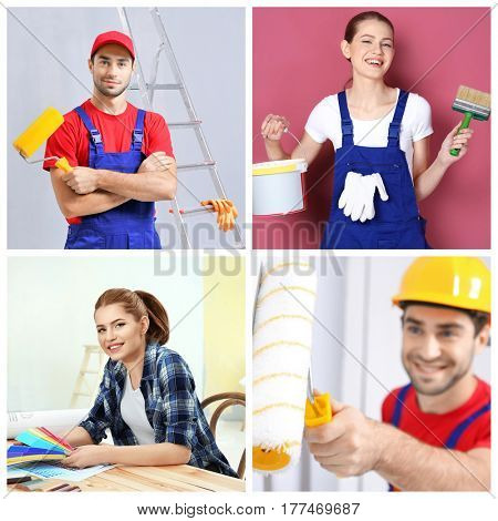 Collage of decorators with professional equipment