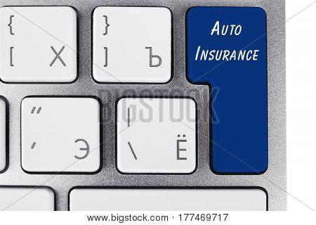 AUTO INSURANCE button on keyboard, closeup