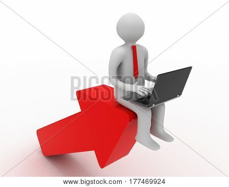 3d man with laptop sitting on the arrow. success concept , rendered illustration